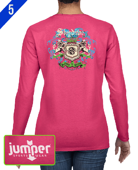 Skydiver Crest 0059 DTG Ladies' Custom Long Sleeve Shirt