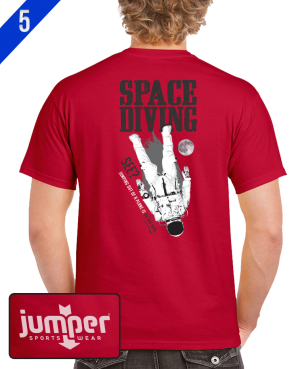 Space Diving 0067 DTG Red Custom T-Shirt